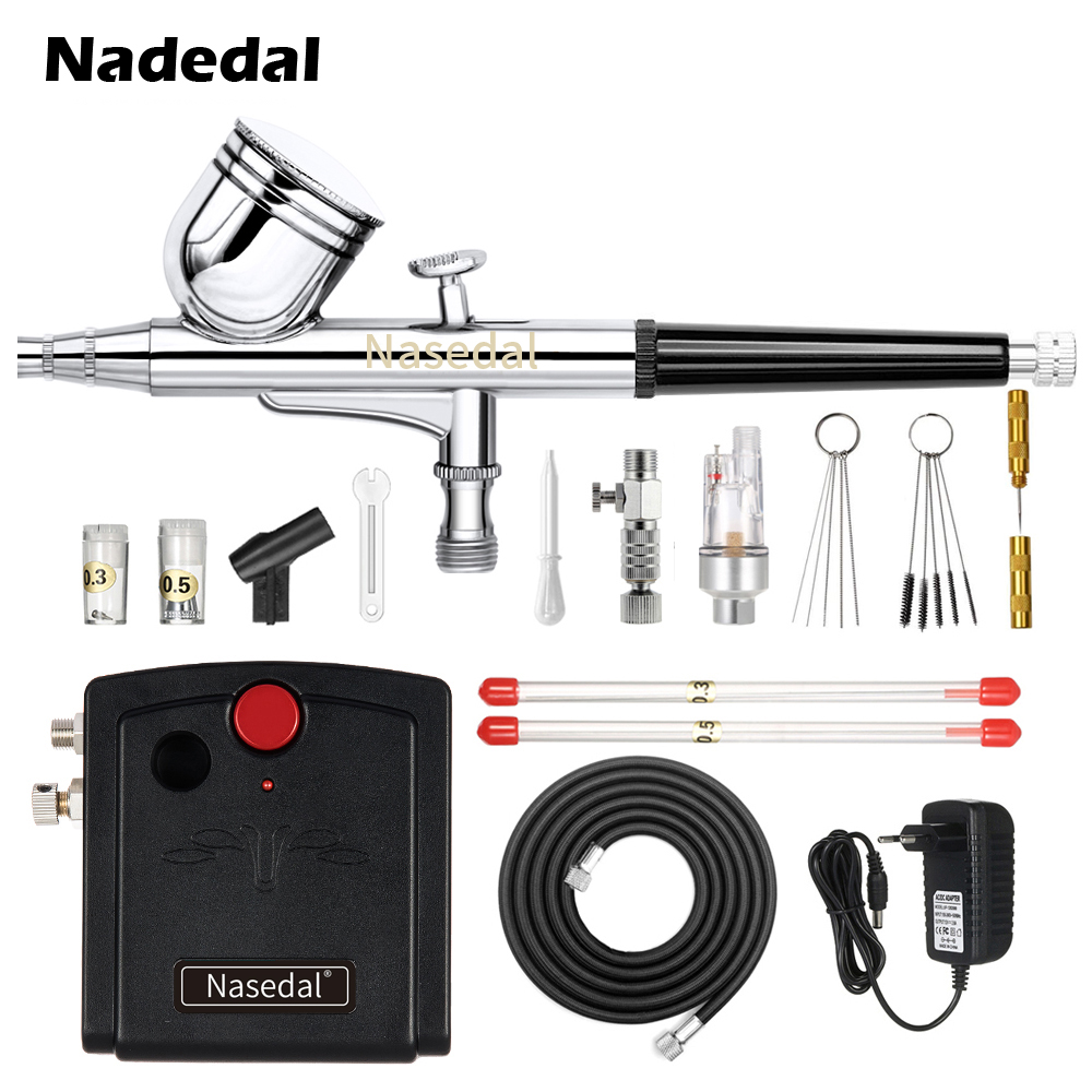Nasedal NT-19 Dual-Action Spray Gun Airbrush with Compressor 0.3mm Airbrush Kit for Nail Airbrush for Model/Cake/Car Painting