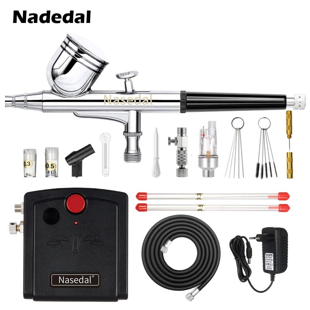 Nasedal NT-19 pistolet à double Action aérographe avec compresseur 0.3mm aérographe Kit pour aérographe à ongles pour modèle/gâteau/peinture de voiture