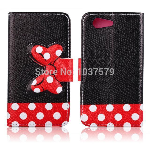 new product 0a242 efb34 US $385.0 |Luxury Leather Flip Wallet Book Style Case For Sony Xperia E3  Phone Cover with Card Holder and Stand,Mickey Minnie Bow 8 Designs on ...