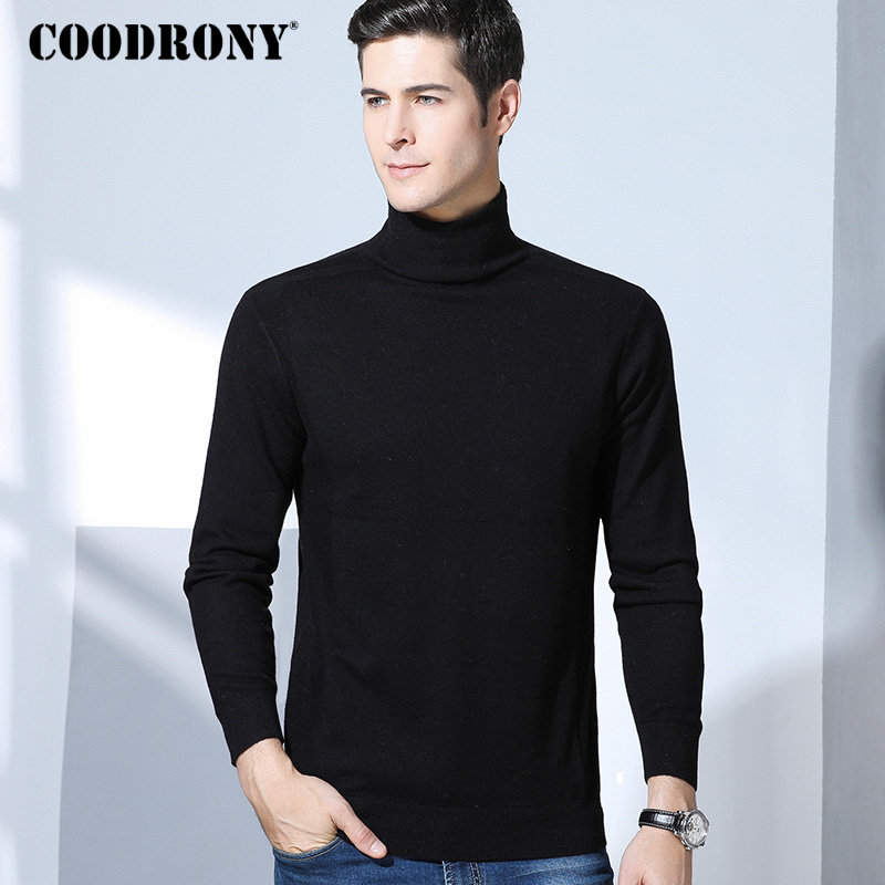 COODRONY Winter Thick Warm Merino Wool Sweater Men Turtleneck Cashmere Pullover Men Pure Color Casual Slim Fit Pull Homme 8318