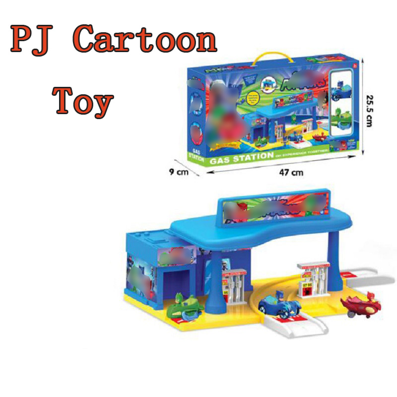 PJ Cartoon Mask Gas Station Building Toy Les Pyjamasques Connor Greg Amaya Car&Track Display Jouet Kids Christmas Juguetes Gift les enfants pj racing mission cruiser car dessin maskmm toy anime pj car big truck display jouet children bithday gift toys