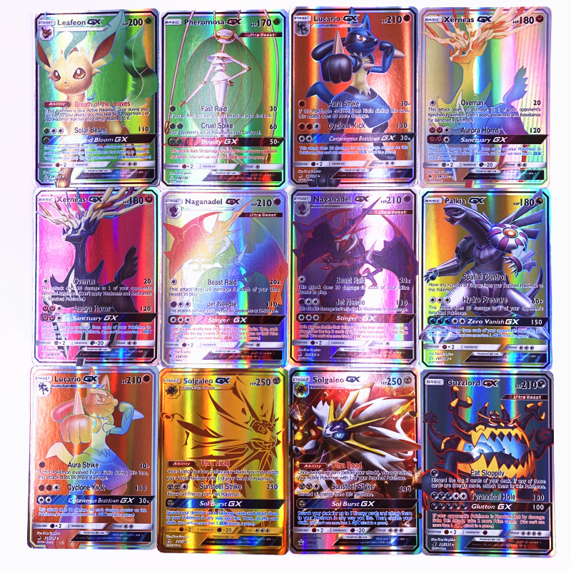 200 Pcs GX 25 50 100pcs MEGA Shining Cards Game Battle Carte Trading Cards Game Children Pokemons Toy