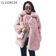 Fashion Korean Style Pink Faux Rabbit Fur Coat Women 2018 New Autumn Winter Warm Soft Fur Coat Female Casual Long Faux Fur Coat