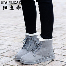 2018 New 8 Colors Ankle Boots For Women Flat Casual Women Snow Boots Lace-up Warm Cotton Shoes Female Winter Boots DST903