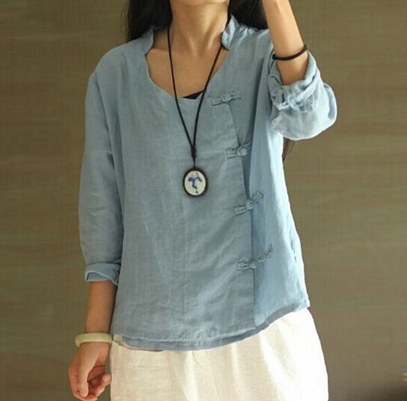 V Neck Long Sleeve Retro Side Handmade Chinese Buttons