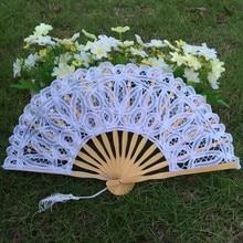 10pcs/lot 20cm size Battenburg White Embroidered Lace Hand Fan