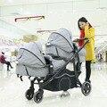 Shinybb gemelos cochecito de bebé de dos vías ligero plegable de alta calidad doble antes y después de la carretilla