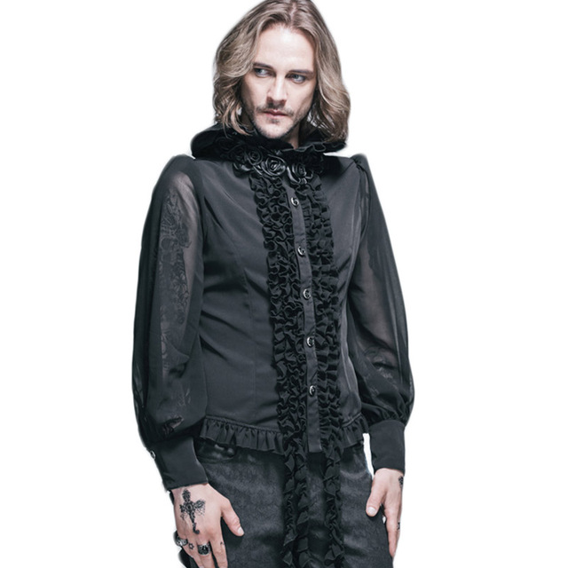 Devil Fashion Mens Shirt Gothic Steampunk Black Long Sleeve Blouses With Roses Tie Stand Collar Luxury Brand Design Large Sizes