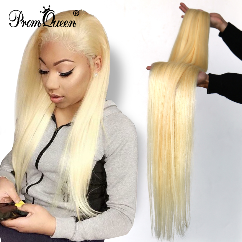 30 32 34 Inch Promqueen Brazilian Hair Straight 613 Color Blonde Human Hair Weave Bundles 1/3/4 PC Remy Hair Extensions