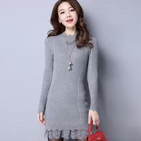 Women's lace bottom thick long sweater winter & autumn ladies elegant lace patchwork slim pullover sweater dress with lace