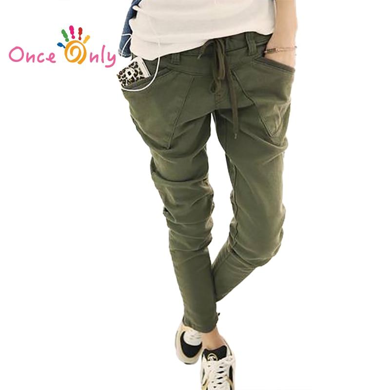 Fashion Korea Women Pocket Skinny Pencil Pants Harem Trousers Elegant Pants Army Green Black Khaki Brand Solid Pants S - XXL
