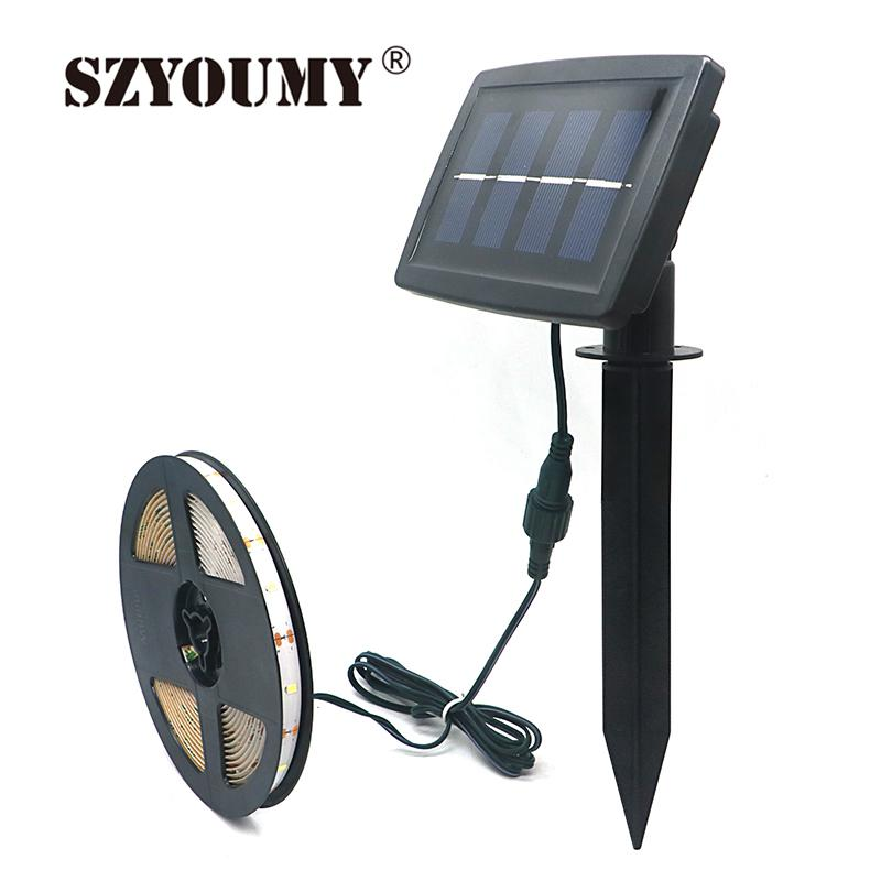 SZYOUMY 5M LED Strip Solar Powered SMD2835 100Leds IP65 Expoy Waterproof Indoor Outdoor Decoration Fairy Light Xmas,Party,Garden
