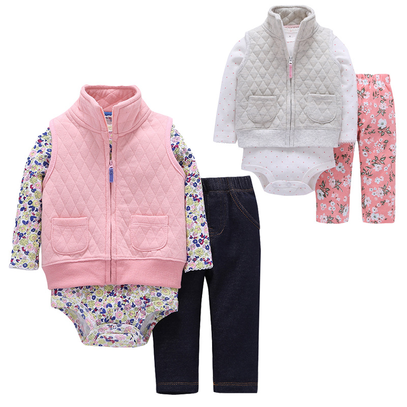 2017 Toddler baby boy girls clothes set cotton hooded cardigan+trousers+body 3pcs set newborn clothing Childrens clothing