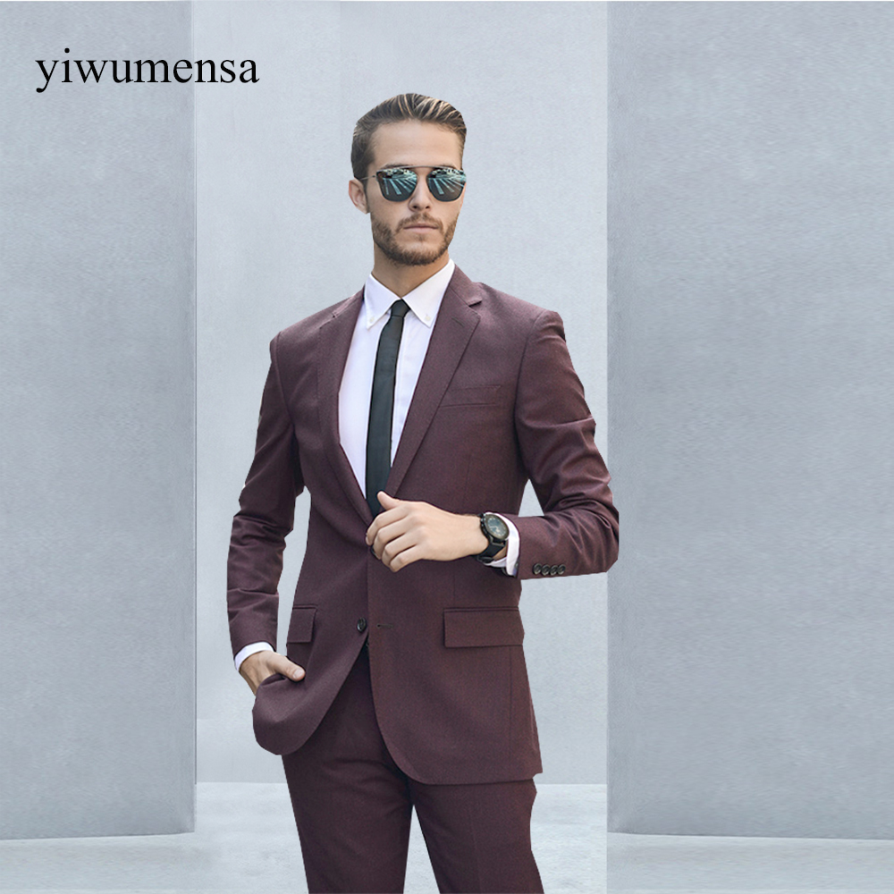 costume homme mariage Wine Red Two Pieces Jacket with pants wedding ...