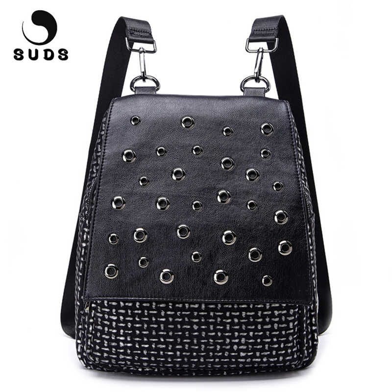f793fbf1a223 SUDS Brand 2018 PU Leather Rivet Backpack Women Designer High Quality  Preppy Style Backpack For Teenage