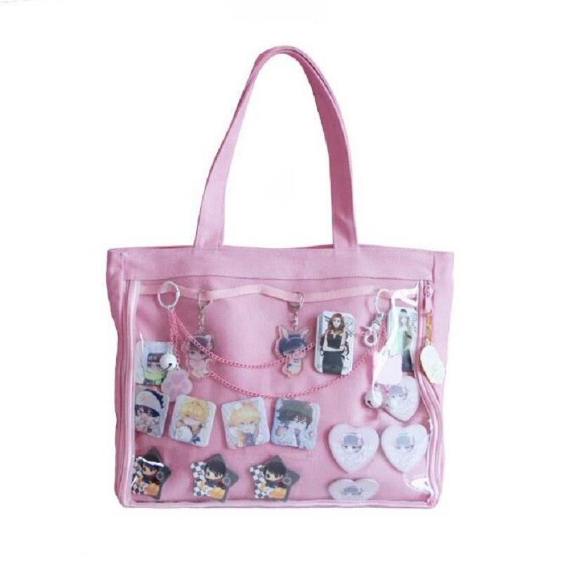 Giapponese Wego Ita Sacchetto di Kawaii Finestra Trasparente Lolita di Tela Borsa A Tracolla Della Borsa di Colore Della Caramella Bella Itabag