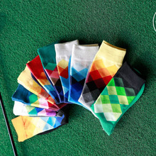 Gradient Diamond stockings Mens 1 Pair Tide Brand Happy Stocking Combed Cotton Sox Men Harajuku Casual Business  Male stocking