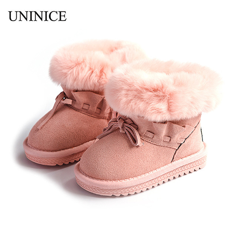 UNINICE Girls Bow Snow Boots Kids Warm Ankle Boots Winter Children Shoes For Girl Real Leather Faux Rabbit Fur Flat Rubber Shoes anti slippery waterproof girls snow boots kids warm ankle boots winter children new shoes high quality rabbit hair flat rubber
