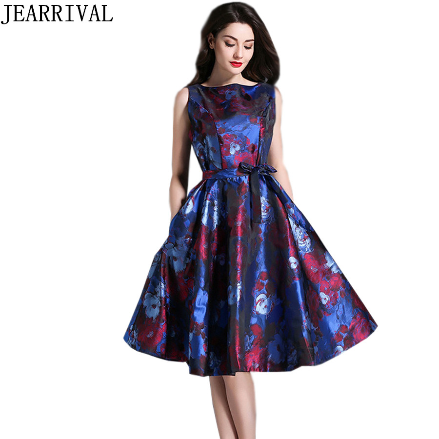 New Designer Summer Dress 2017 Elegant Women Runway Fashion Flower Print Jacquard Sleeveless Vintage Party Dresses