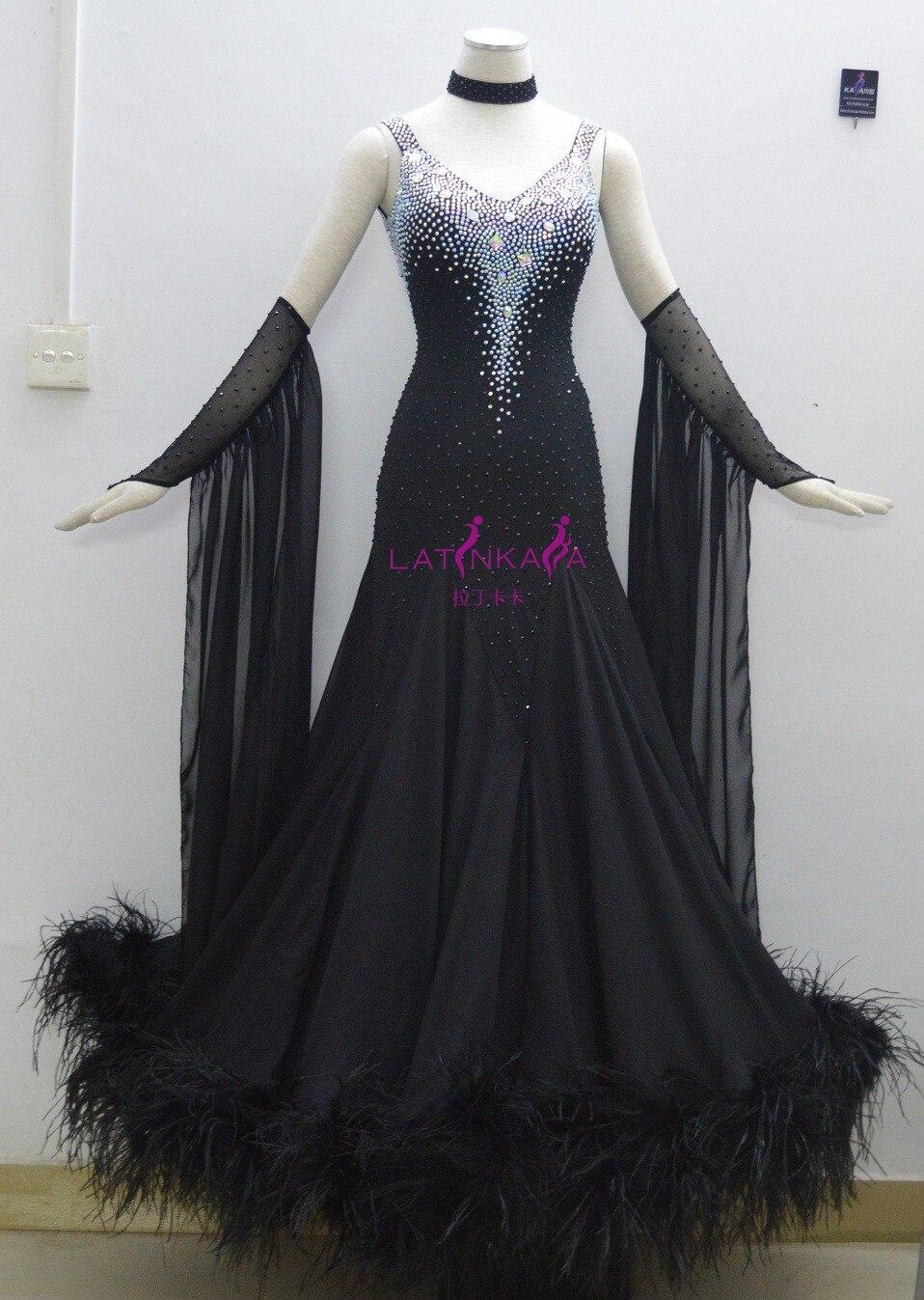 KAKA DANCE B1411, 2014 Новый стиль! Черное перьевое бальное стандартное танцевальное платье, Вальс платье для соревнований, женское, бальное платье д