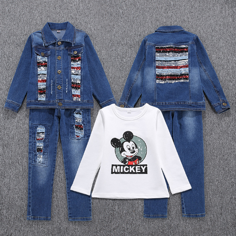 Baby Girls Clothes Sets Summer 2017 Set for Girl Jeans Coat + T-shirt + Pants 3Pcs Suit Cotton Children Clothing Kids Suits 1c95 15 free shipping top striped dress children baby 3 pcs suit set girl s clothing sets girls sport suits chilren set