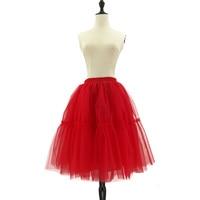 2018 6 שכבות חצאית טול נשים הלבשה אמריקנית חצאיות חצאיות טוטו אדום כדור שמלת המפלגה תחתונית נהיגה לראשונה חצאית faldas saia