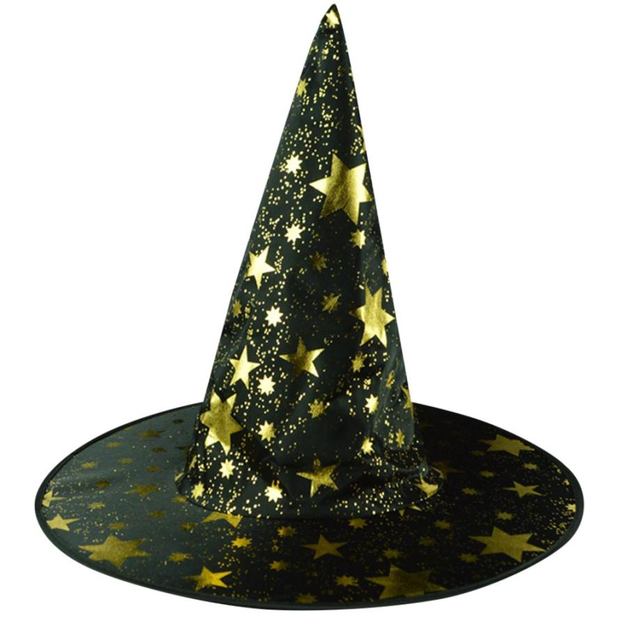 Adult Womens Mens Witch Hat For Halloween Costume Accessory Stars Printed Cap Witch Caps Party for girls casquette gorras A8