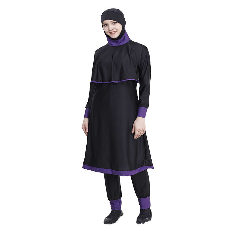 e9de5feecef ... Plus Size Chest pad Modest Muslim Swimwear Hajib connection 2 pieces  Islamic Swimsuit For Women Full ...