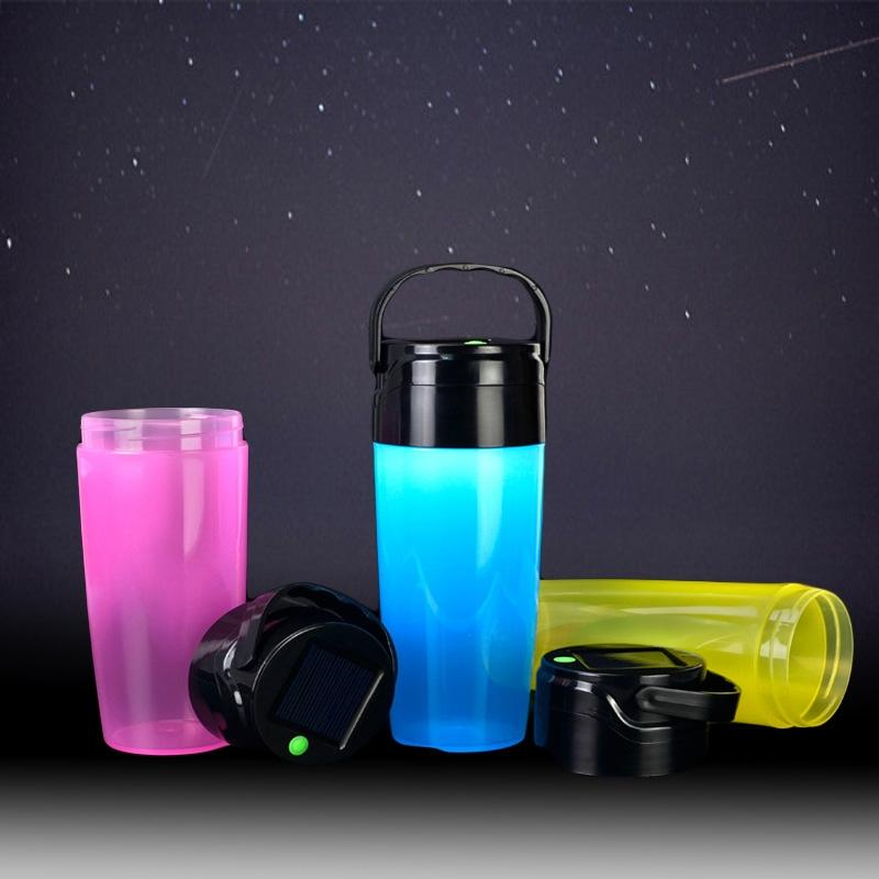 AKDSteel Outdoor Portable Waterproof Silicone Water Bottle with LED Solar Power Light for Camping