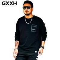 GXXH Brand Men T Shirt Autumn Long Sleeve Letter Printed Mens T shirt Plus Size Fat Guy Male Clothes Big Tall 3xl 5xl 6xl 7xl