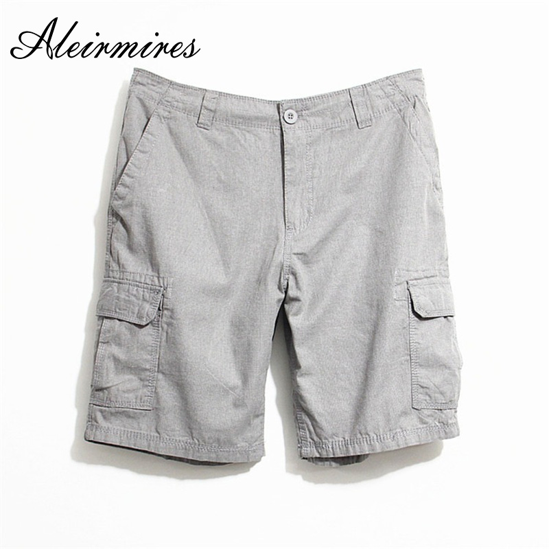 Aleirmires Men Summer Shorts 2018 Business Casual Cotton Solid Color Multi-Pockets Cargo Short Pants Regular Spodenki Men