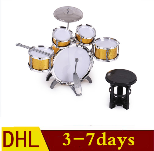 купить musical instrument Children Kids Drums Musical Instrument Toys 5 Drums with Small Basin Stool Drumsticks drum toy недорого