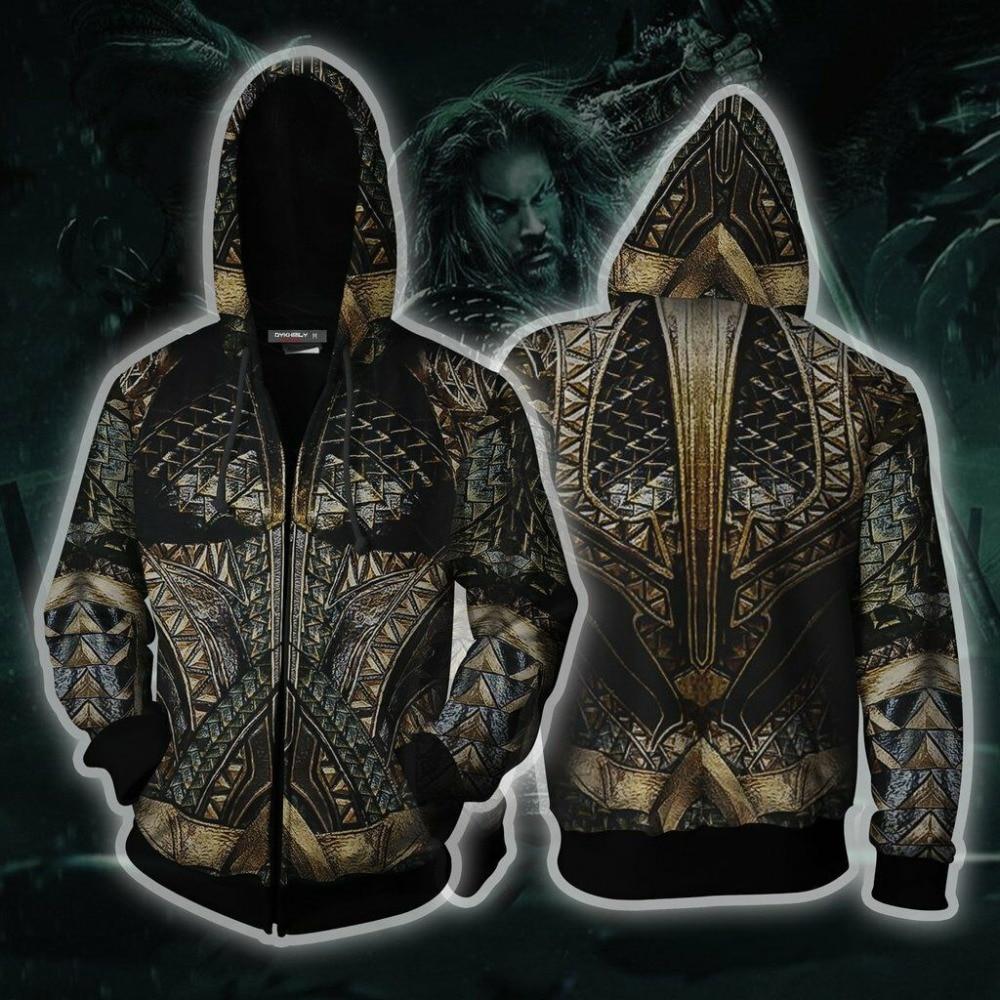 New Aquaman Arthur Curry Hoodies Coat 3D Zip Up Sweatshirt Cosplay Costume Spring Jacket