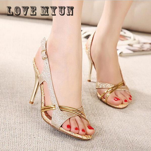 2017 Fashion Women Sandal Thin High Heels Sandals Gold Ladies Summer Shoes Gladiator Heels open toe Hollow Out Bling Glitter PU