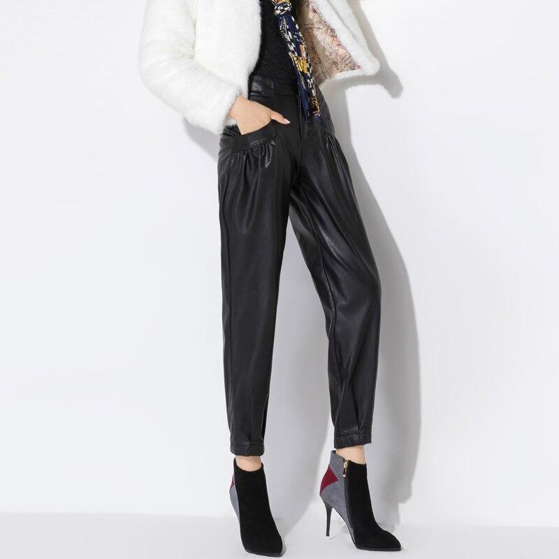 Autumn winter PU Faux Leather Trouser Women Harem   Pant   Casual Leather Trousers Loose waist   Capris   Plus Size 27-33/Trousers