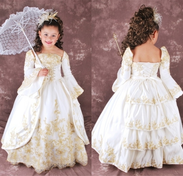 2015 New Stylish Royal Flower Girl Dresses Long Sleeve Ball Gown Lace Hem  Kids Party Wear Frocks Girls Puffy Dresses Bolero Girl 062e77175195