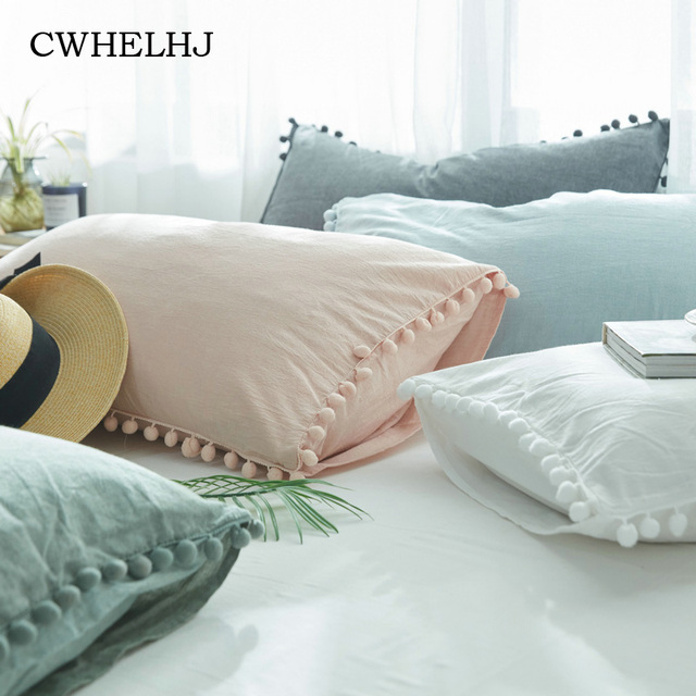 Washed Cotton Single Pillowcase WhitePink Bedroom Decorative Cute Enchanting Cute Decorative Bed Pillows
