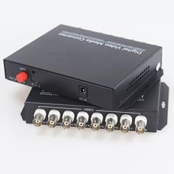 20km 8 Channel Digital Video Optical Fiber Media Converters Transmitter & Receiver for CCTV Analog Cameras Surveillance System