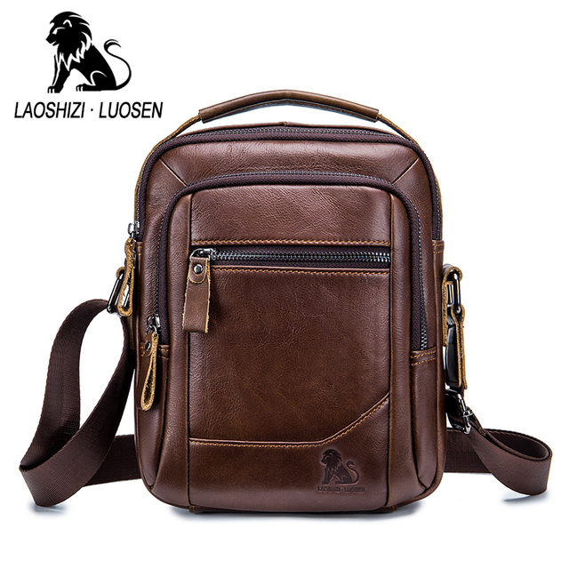 LAOSHIZI LUOSEN MEN'S BAG Genuine Leather Shoulder Bag Fist Layer Cow Leather Casual Business Bag For Male Luxury Brand Bag91314