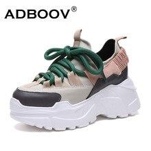 4710d611 ADBOOV/Новые осенне-зимние сникерсы на платформе, женская обувь,  увеличивающая рост, на массивном каблуке 7 см, большие размеры .