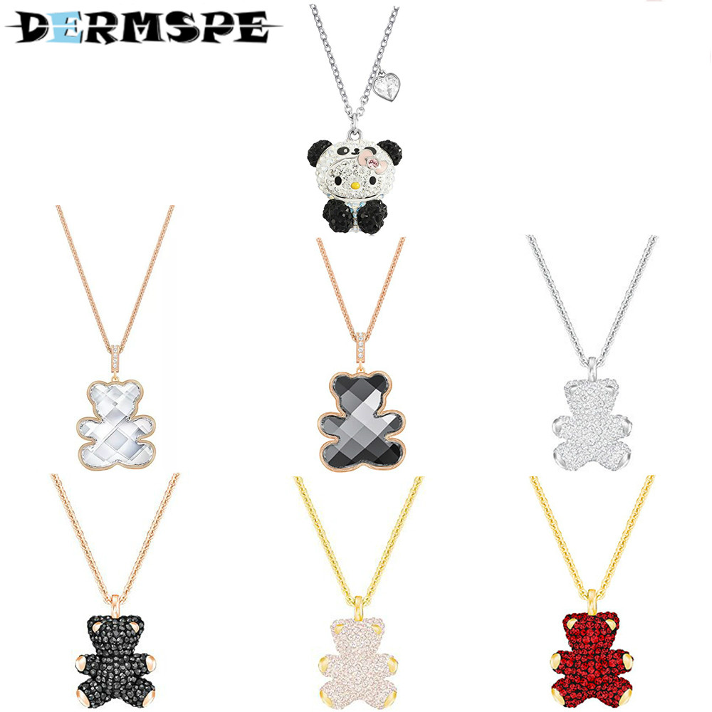 DERMSPE Teddy 3D Pendant Red Plated TEDDY White Rose Gold Fashion Necklaces for Women Statement Merry Christmas Charm недорго, оригинальная цена