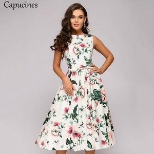Image 4 - Capucines zarif Vintage nokta baskı evaze elbise kadın yaz kolsuz o boyun orta buzağı rahat elbise kadın Vestidos