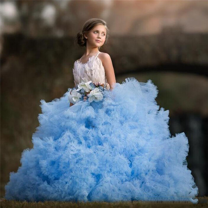 Luxury Sky Blue Flower Girls Dresses Feather Bow Tulle Communion Dress Tiered Toddler Kids Birthday Dresses sky blue tiered see through design plain v neck curve hem camis