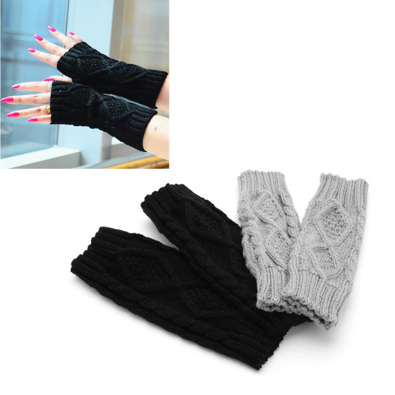 Winter Women Wrist Arm Hand Warmer Knitted Long Fingerless Gloves Mitten