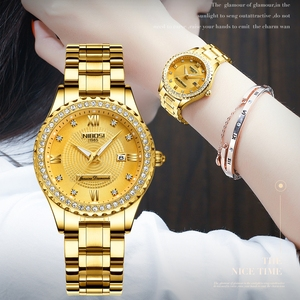Image 2 - NIBOSI Couple Watch Women Men Luxury Crystal Quartz Wrist Watches Lovers Clock Week Date Gold Blue Montre Femme Relogio Feminino