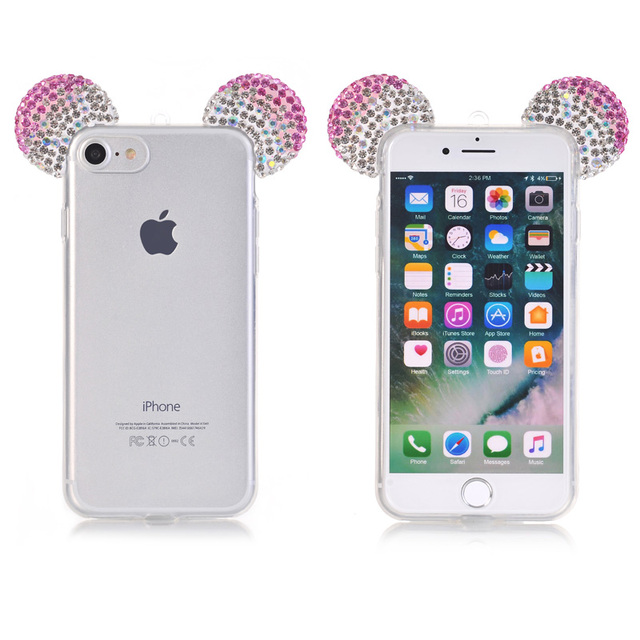 Mickey Rhinestone ears Transparent Soft TPU Case Cover For Samsung Galaxy A5 2015 A 5 500 A500F A5000 SM-A500 SM-A500F Fundas