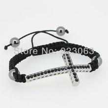 Sale 10pcs/lot Fashion Jet Crystal White Gold Color Curved Sideways Cross Connector Bead Adjustable Black Macrame Rope Bracelet