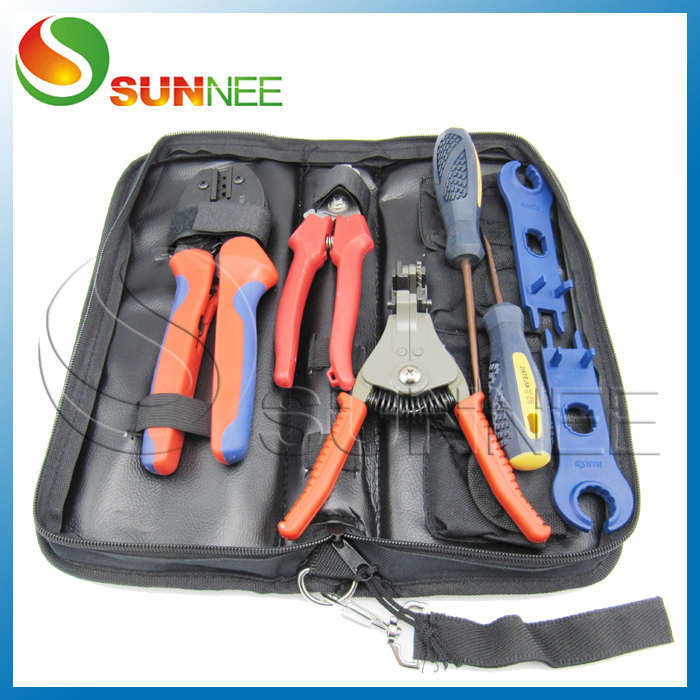 Kit of Solar PV Crimper Tool for TYCO MC3 MC4 Connector, Crimping Connector, CRIMPING TOOL, cable cutter, screw driver solar panel tool kit ly k2546b 1 pv tool set mc4 crimping tool set only including mc3 crimping die set mc4 mc3 crimping tool