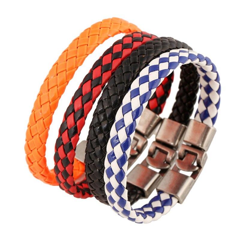 Strick Pu-leder Wrap Armband Für Frauen Hand Made Man Armreif Reif Mode Helle Farbe Pulseiras Bileklik Femme Schmuck