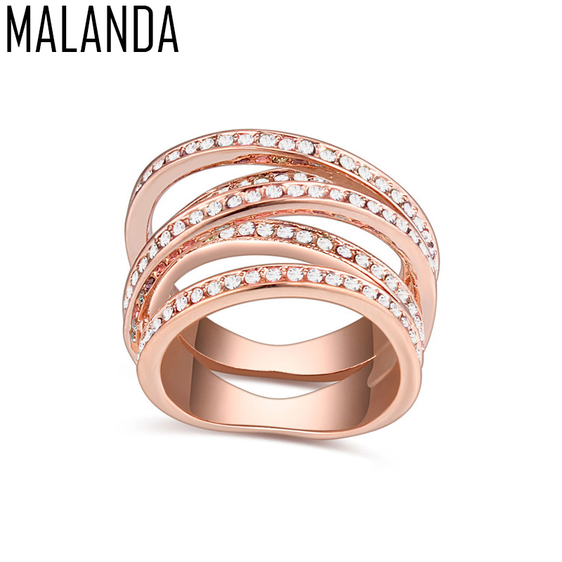 MALANDA Brand 2018 Fashion Rose Gold Color Ring With Crystal From Swarovski Luxury Rings For Women Jewelry Mothers Day Gift